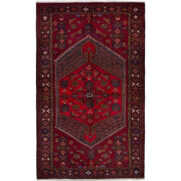 eCarpetGallery Hand-knotted Hamadan Dark Red Wool Rug - 4'2 x 6'10