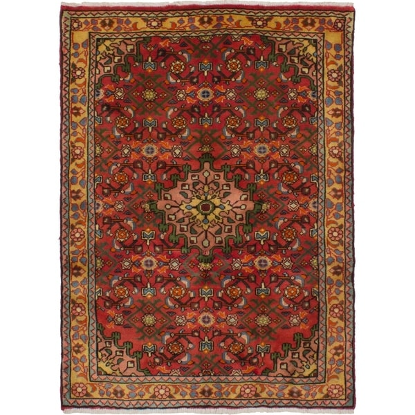 eCarpetGallery Hand-knotted Hosseinabad Dark Copper Wool Rug - 3'5 x 4'9