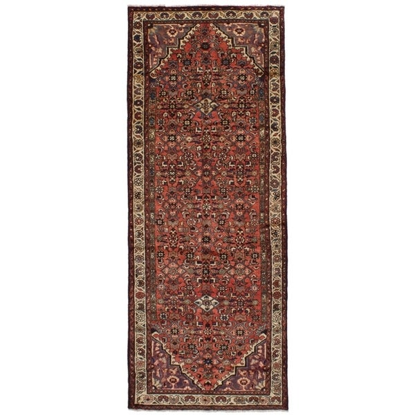 eCarpetGallery Hand-knotted Hosseinabad Dark Copper Wool Rug - 3'7 x 10'0