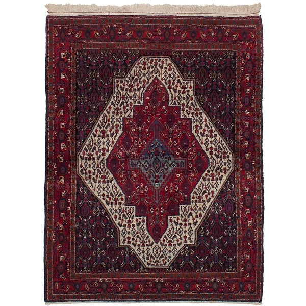 eCarpetGallery Hand-knotted Senneh Cream, Red Wool Rug - 4'1 x 5'5