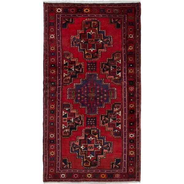 eCarpetGallery Hand-knotted Hamadan Red Wool Rug - 3'6 x 6'6