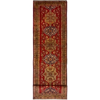 eCarpetGallery  Hand-knotted Ardabil Red Wool Rug - 3'2 x 12'6
