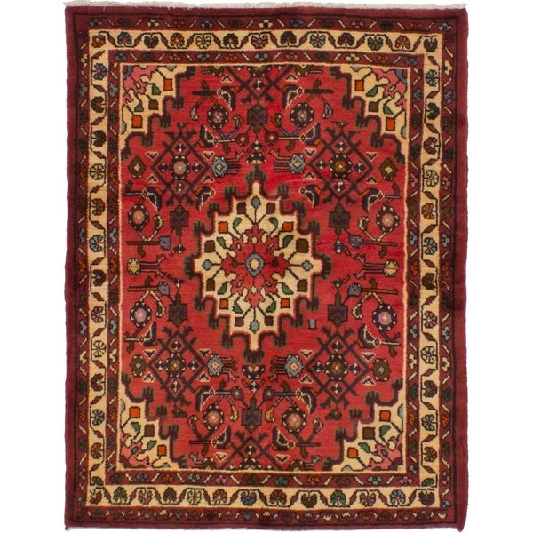 eCarpetGallery Hand-knotted Hosseinabad Red Wool Rug - 3'7 x 4'7