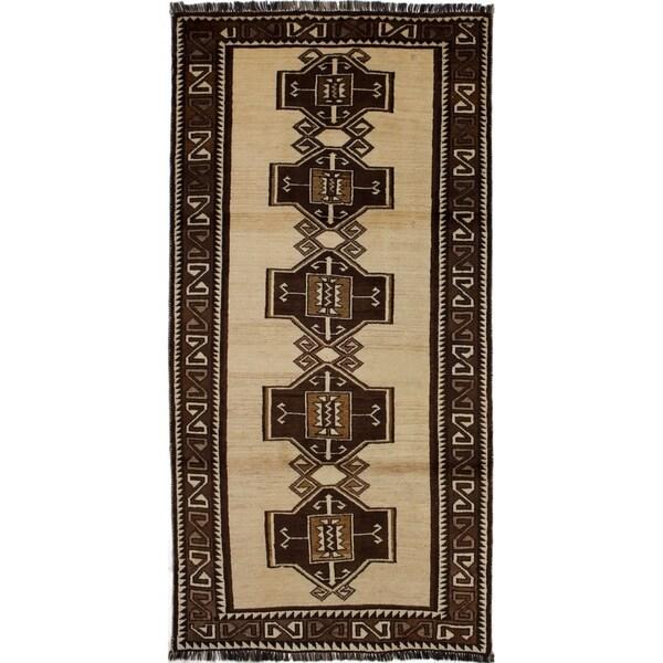 eCarpetGallery Hand-knotted Kashkuli Gabbeh Beige, Brown Wool Rug - 3'8 x 7'7