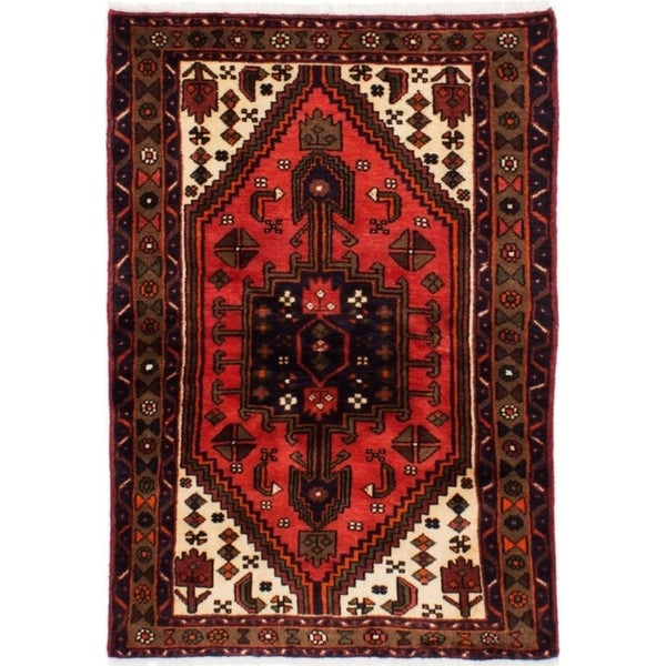 eCarpetGallery Hand-knotted Hamadan Light Red Wool Rug - 3'3 x 4'7