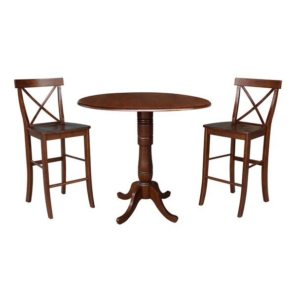"""42"""" Round Top Bar Height Table and Two Stools - Espresso"""