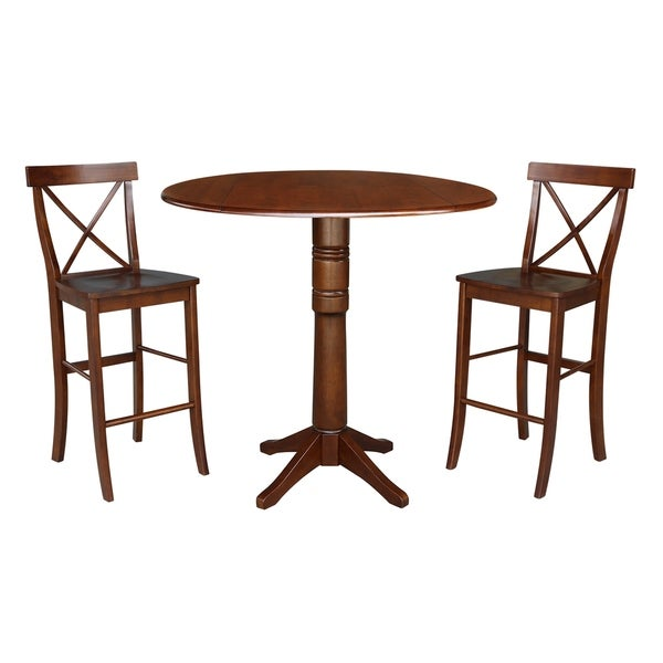 "42"" Round Pedestal Bar Height Table and Two Stools - Espresso"