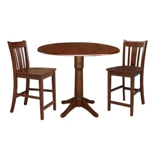 """42"""" Round Pedestal Couonter Height Table and Two Stools - Espresso"""