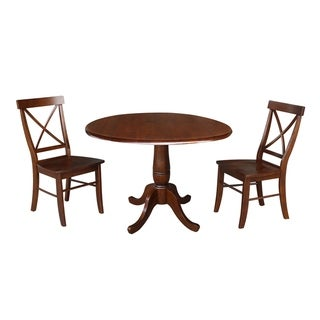 "42"" Round Top Dining Table and Two Chairs - Espresso"