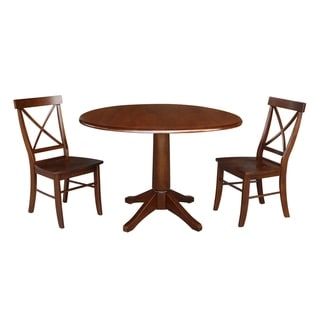 "42"" Round Pedestal Dining Table and Two Chairs - Espresso"