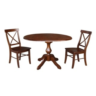 "42"" Round Top Pedestal Dining Table and Two Chairs - Espresso"