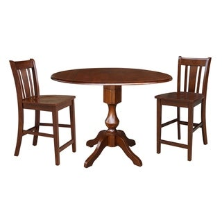 "42"" Round Top Pedestal Counter Height Table and Two Stools - Espresso"