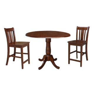 "42"" Round Top Counter Height Table and Two Stools - Espresso"