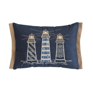 Light House Navy Blue Rectangle Accent Pillow