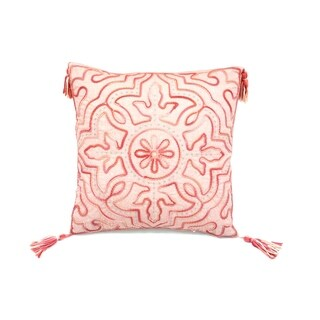 Tie Dyed Coral Chenille Tile Accent Pillow