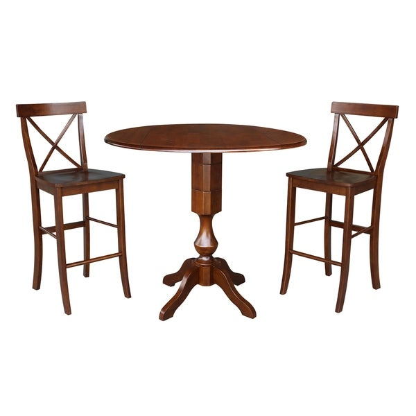 """42"""" Round Top Pedestal Bar Height Table and Two Stools - Espresso"""