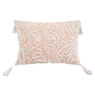 Chenille Damask Beige Rectangle Woven Geometric Accent Pillow