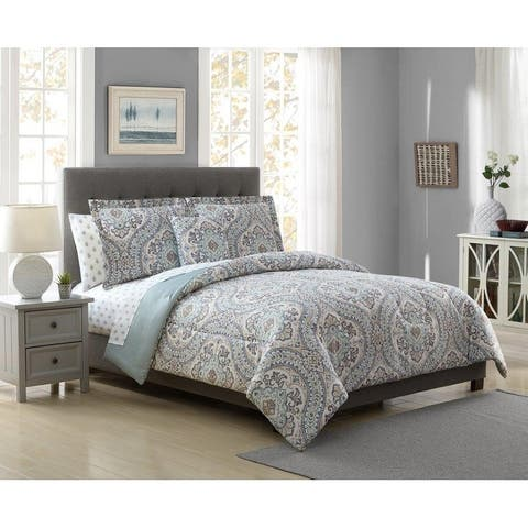 White Birch Crawford Damask Reversible 6 & 8 Piece Comforter Set