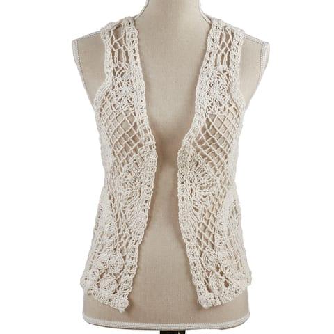 Saro Lifestyle Off - white Cotton Crocheted Vest Size - S