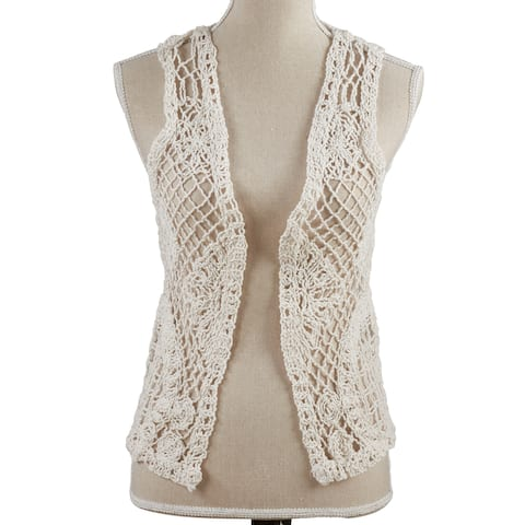 Saro Lifestyle Off-white Cotton Crocheted Vest