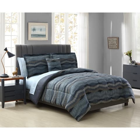 Hamilton Hall Powell Chevron Stripe 6 & 8 Piece Comforter Set