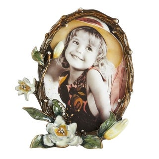 Saro Lifestyle Brown Zinc/Glass Floral Design Portrait Photo Frame