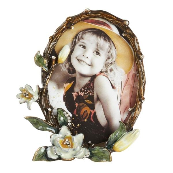 Saro Lifestyle Brown Zinc/Glass Floral Design Portrait Photo Frame