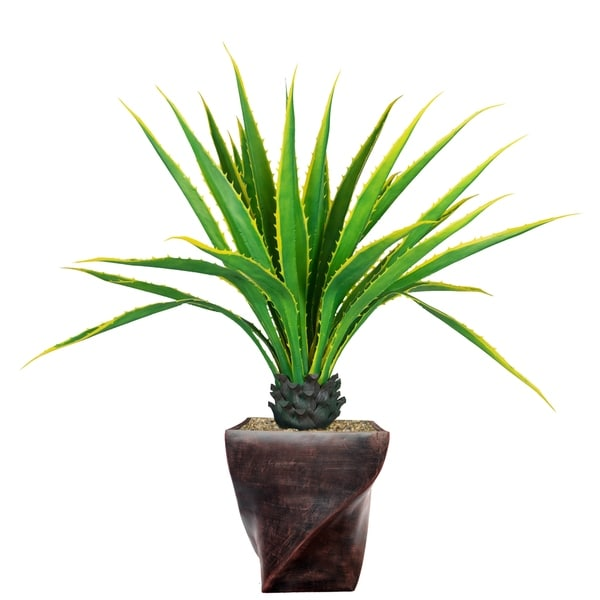 """Laura Ashley 57.5"""" Real Touch Agave Plantin Resin Planter"""