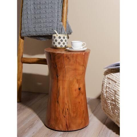Aurora Home Glen Wood Hourglass Stool - 13 x 13 x 17