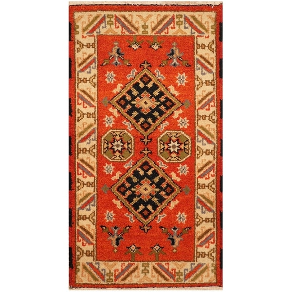 Handmade Kazak Wool Rug (India) - 2'2 x 4'. Opens flyout.