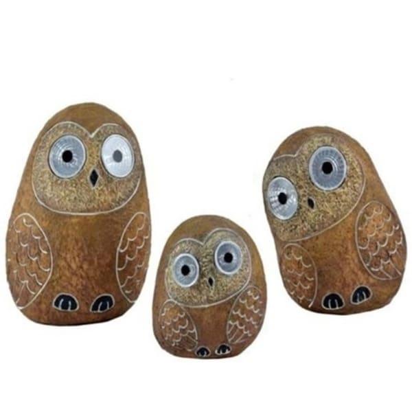 Set of 3 Solar Owl Figurines