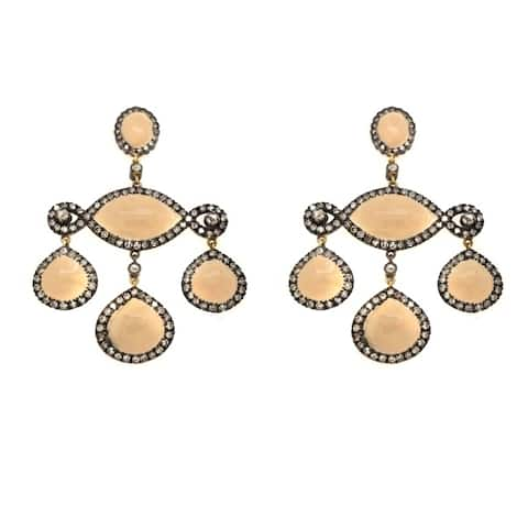 18K Gold and Silver Antique Hanging Diamond Earrings (K-L, SI1-SI2)