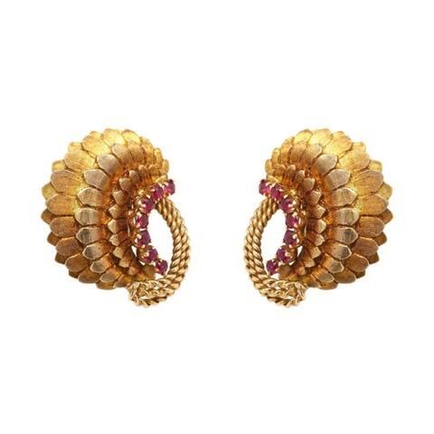 14K Yellow Gold Vintage Rubies Clip Earrings