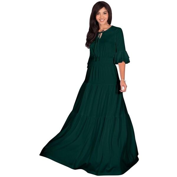 59c375c3aef57 Shop KOH KOH Womens Long Boho Flowy Peasant Casual Modest Maxi Dress ...