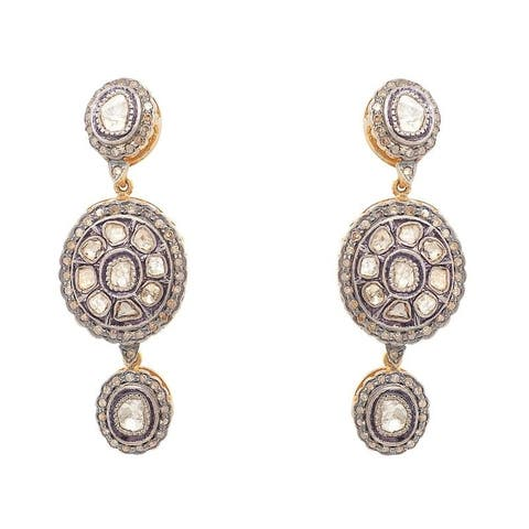 18K Gold and Silver Rose-Cut Vintage Diamond Earrings (L-M,SI1-SI2)