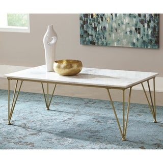 Modern Design Marble and Brass Living Room Coffee Table