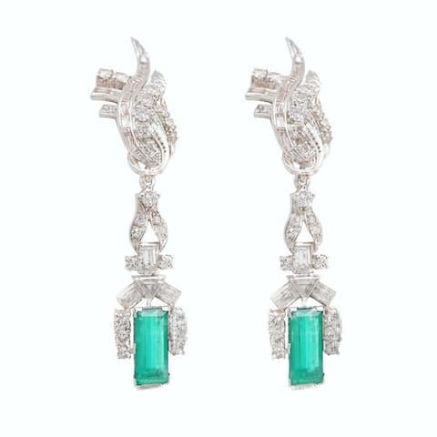Platinum Vintage Diamond Emerald Hanging Earrings (I-J,VS1-VS2)