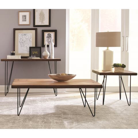 Natural Live Edge Mahogany Living Room Table Collection - 1-End Table, 1-Coffee Table, 1-Sofa Table