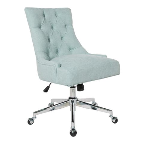 957686c1be9 OSP Home Furnishings Amelia Chrome Finish Metal and Fabric Tufted Office  Chair