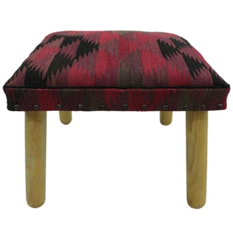 "Chacon Pink/Black Handmade Kilim Upholstered Bench - 18""x18""x12"""