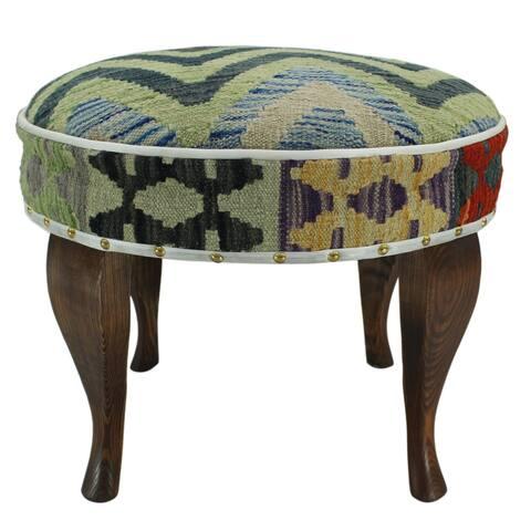 Arshs Fine Rugs Echols Grey/Light Green Kilim Upholstered Handmade Ottoman