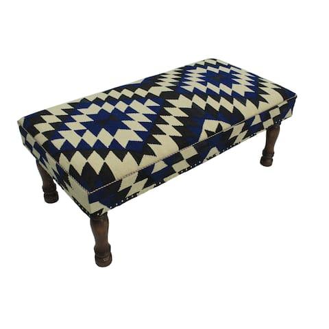 Arshs Fine Rugs Cavazos Ivory/Black Kilim Handmade Upholstered Settee