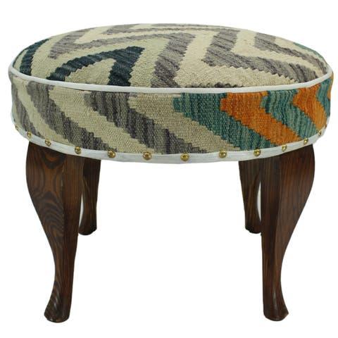Arshs Fine Rugs Egglesto Grey/Ivory Kilim Upholstered Handmade Ottoman
