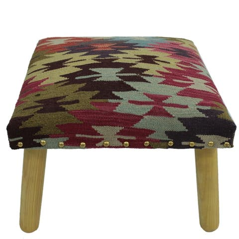 """Cave Rust/Brown Handmade Kilim Upholstered Bench - 18""""x18""""x12"""""""