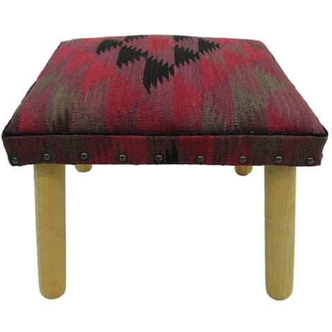 "Chaffin Pink/Black Handmade Kilim Upholstered Bench - 18""x18""x12"""