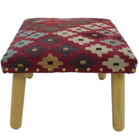 "Cervante Rust/Ivory Handmade Kilim Upholstered Bench - 18""x18""x12"""