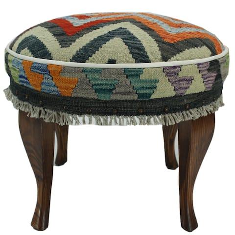 Arshs Fine Rugs Egan Rust and Blue Kilim Upholstered Handmade Ottoman