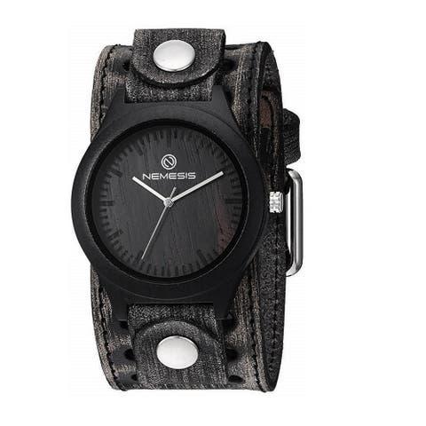 VSTH260K Nemesis 'Jayden' Dark Wood case watch with vintage leather cuff band