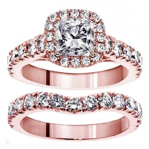 14k Rose Gold 3 1/3ct TDW Clarity Enhanced Diamond Halo Bridal Ring Set