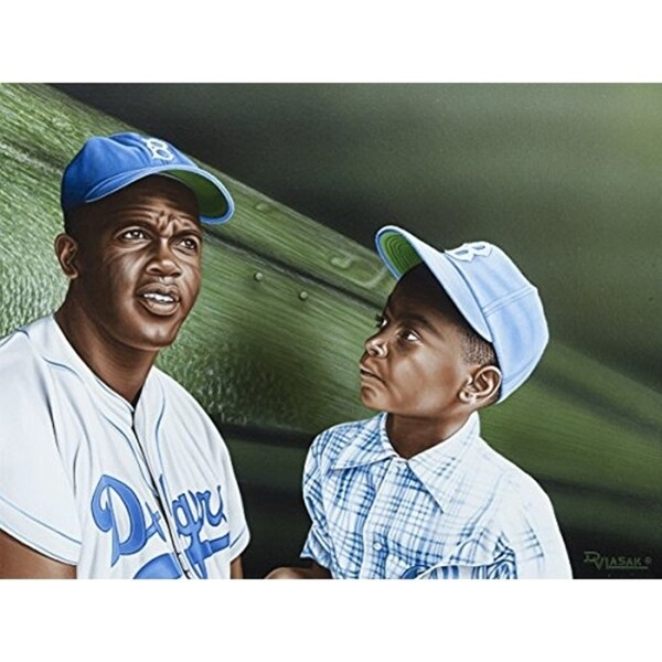 CANVAS Jackie Robinson Chatting with Young Fan in the Dugout by Darryl Vlasak Oil Painting Print on Wrapped Canvas - 24 x 32. Opens flyout.